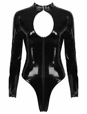 Womens Hollow Chest Leotard Leather Bodysuit Long Sleeves Catsuit Nightwear Club