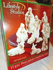 Nativity Set Porcelain with 24K Gold Accent with wood Display Stand 11 Piece Set