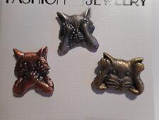 Wholesale Jj Jonette Set of 3 Cat Kitten Pin Back Hear/See/Speak No Evil 3 Tones
