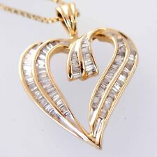 """New 14 Solid Yellow Gold Heart 18"""" 1 ct Diamond Heart Necklace with 14k Chain"""