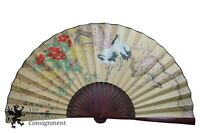 Vintage Hand Painted Chinese Paper Wall Hanging Hand Fan Cranes Cherry Blossoms