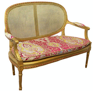 Antique Settee, Caned French Louis XVI Style Giltwood, 1800s, Charming!