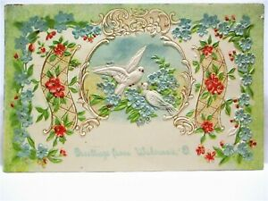1910 POSTCARD GREETINGS FROM WAKEMAN OHIO, DOVES, SCROLLS AND FLOWERS