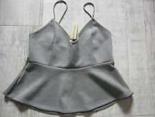 RIVER ISLAND Vest SLEEVELESS Camisole TOP Blouse GREY Size 14 New With Tags