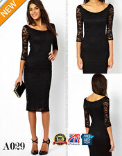 Womens Lace Dress 3/4 Sleeve Pencil Wrap Elegant Midi Bodycon Party Dresse A029