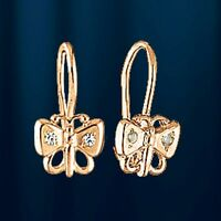 Rose Rotgold 585  Kinder-Ohrringe mit CZ. Schmetterling. Kids earrings!