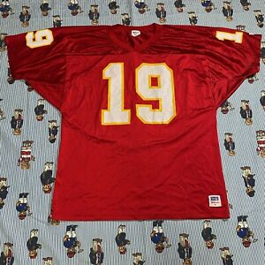 Vintage Wilson KANSAS CITY CHIEFS #19 Football Jersey XL Red Nylon USA Kemp 90s