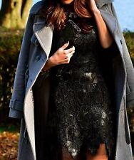 ! Raro! zara encaje y cuero Negro Patrón Floral Crochet vestido Medio M