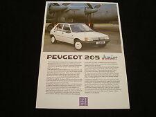 "PEUGEOT 205 ""JUNIOR"" UK SALES BROCHURE - DATED JUNE 1988"