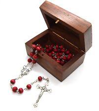 Jerusalem Cross Rose Scented wood Rose Petal Rosary beads WOODEN ROSARY Box