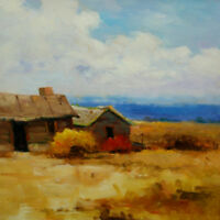 "Painting Original Oil on Canvas Landscape Art. ""Farm Houses"" by Hunoz 16"" x 16"""