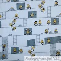 BonEful FABRIC FQ Cotton Quilt White Yellow B&W Despicable Me 3 MINION Kid Mask