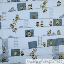 BonEful FABRIC FQ Cotton Quilt White Yellow B&W Despicable Me 3 MINION Girl Boy