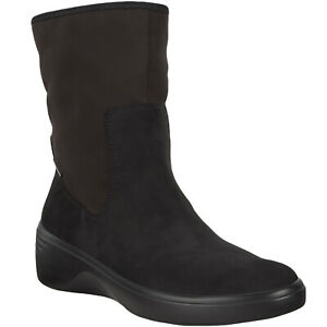 ECCO Womens Soft 7 Wedge Mid Rise Pull On Casual Gore-Tex Ankle Boot - Black