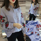 Fashion Women Long Sleeve Cotton Shirt Blouse Tops Elegant Summer Style Shirt