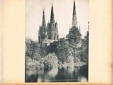 TWO PHOTOGRAPHS/PRINTS LICHFIELD CATHEDRAL ONE FROM MINSTER POOL C1890