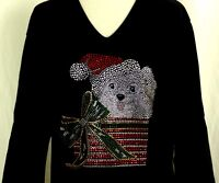 MEDIUM Hand Embellished Rhinestone Christmas Puppy Dog Bow Package Top Shirt