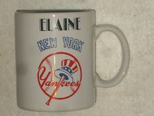 New York Yankees Glass Coffee Mug - personalized with the name Elaine - New