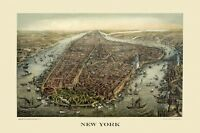 Map New York City Manhattan Boats Bird's Eye View Vintage Poster Repro FREE S/H