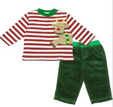 NWT Le Top Holiday Christmas Red Stripe Reindeer Shirt & Cordory Pants Sz 12M