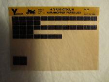 1985 1984 Yamaha Motorcycle QT 50 L N Microfiche Parts Catalog Yamahopper QT50L