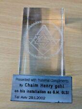 2002 MASONIC GLASS OBELISK INSTALLATION PRESENTATION PIECE - TEL AVIV