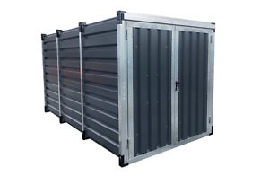 Blechcontainer, Schnellbaucontainer, Lagercontainer, Pulverbeschichtet in GRAU