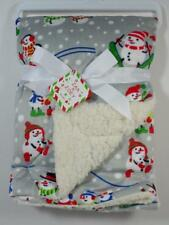 New Zak & Zoey Baby's Gray Mink & White Sherpa Winter Snowman Blanket