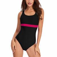 Women Retro One-Piece Color Block Open Back Swimsuit Swimwear For Women Girls