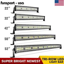 52/50/42/32/22'' inch Curved Tri Row LED Light Bar Spot Flood Driving Offroad