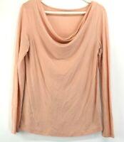 Ann Taylor LOFT Women's M Cowl Neck Long Sleeve T-Shirt Tee Top Pastel Peach