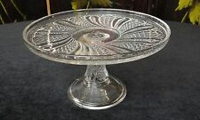 """VINTAGE Antique EAPG Pattern Glass FEATHER 8 1/4"""" X 4 3/8"""" High CAKE STAND"""