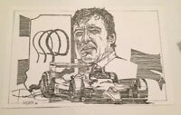 "Ron Burton Indy 500 Art Signed By Artist Print Of Johnny Rutherford 17"" X 11"""