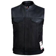 Mens Codura Biker Waistcoat/Vest Black Real Leather Trim