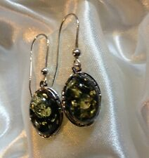 Natural, Mayan Green Amber Drop / Dangle Earrings, Hook, Sterling Silver