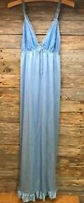 VTG Erica Loren New York Nylon Lace Halter Nightgown Empire Waist L Baby Blue