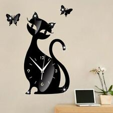 Wall Clock Black Cat Mirror Sticker Modern Watch Self Adhesive Home Decorations