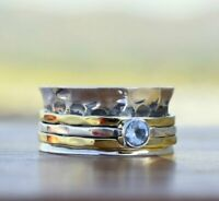 Blue Topaz Solid 925 Sterling Silver Spinner Ring Statement Ring Size M446