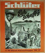 Älteres Blechschild  Traktor  Schlepper Schlüter DS 15   gebraucht used