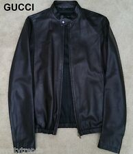 GUCCI leather jacket black bomber cafe racer moto motorcycle light fall 36 46 S