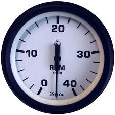 "FARIA EURO WHITE 4"" TACHOMETER 4000 RPM DIESEL MEC"
