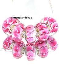 5pcs MURANO Lampwork charm Beads fit 925 silver European Bracelet Chain a999