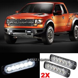 2X White 6 LED Emergency Hazard Flash Warning Caution Beacon Strobe Light Bar#91