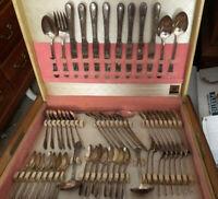 Vintage 1847 Rogers Bros. 'Beloved' Silverware Silverplate Flatware 64 Pcs.
