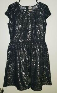 Girls Justice Black Silver Dress Size 20 BNWT