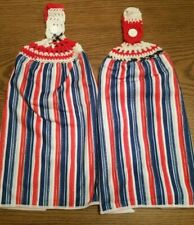2 Double Sided Hand Crocheted Top Red White and Blue Dish Hanging Towels