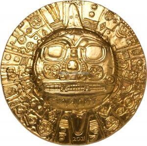 Inca Sun God 1 oz silver coin 24K gilded Palau 2021