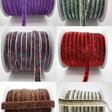 """2+ Yds 3/8"""" 10mm Sparkle Glitter Velvet Ribbons Headband Clips Bow Colours #329"""