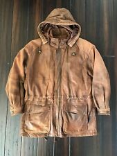 Wilsons ADVENTURE BOUND Men Brown Leather BARNSTORMER Lined Jacket HOODED Coat M