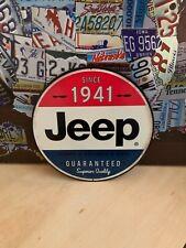 JEEP SINCE 1941HEAVY EMBOSSED METAL SIGNN CAR SALES TRUCK DEALER GARAGE NICE
